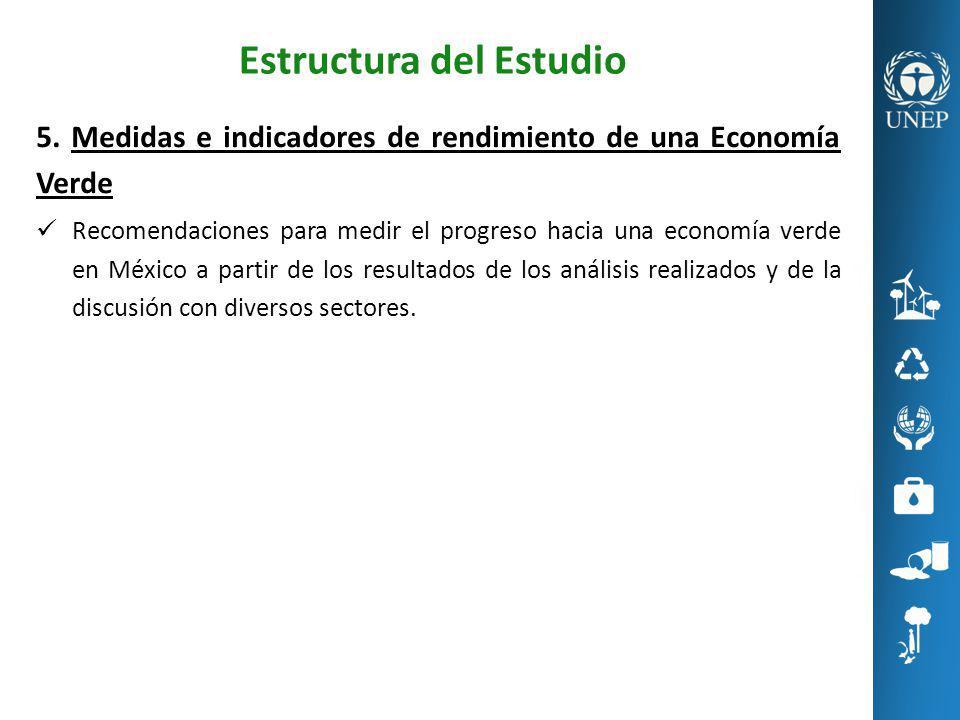 Estructura del Estudio 5. Medidas e indicadores de rendimiento de una Economía Verde Recomendaciones para medir el progreso hacia una economía verde e