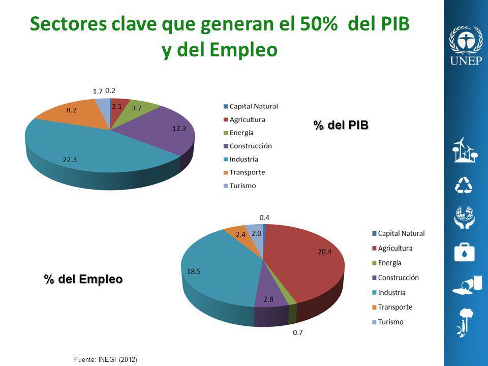 Sectores clave que generan el 50% del PIB y del Empleo Fuente: INEGI (2012) % del PIB % del Empleo
