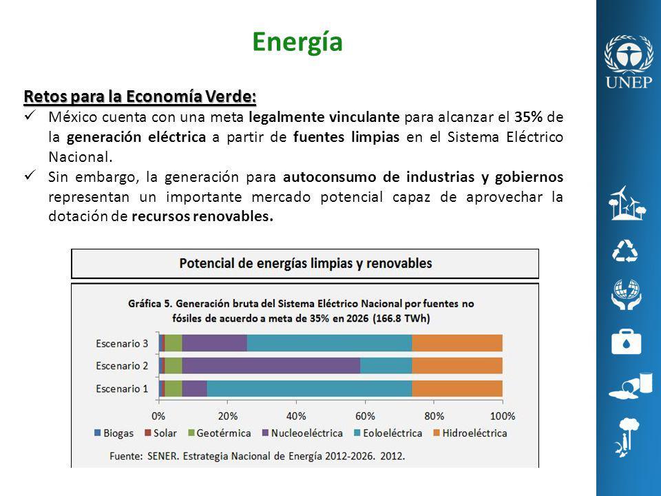 Energía Retos para la Economía Verde: México cuenta con una meta legalmente vinculante para alcanzar el 35% de la generación eléctrica a partir de fue