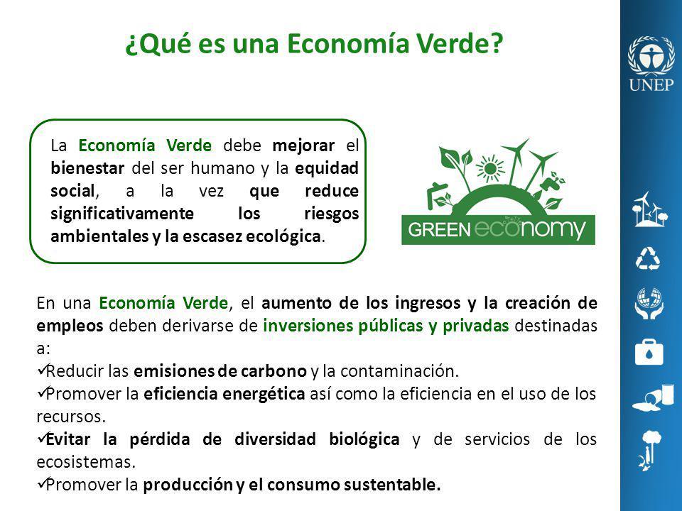 La Economía Verde debe mejorar el bienestar del ser humano y la equidad social, a la vez que reduce significativamente los riesgos ambientales y la es