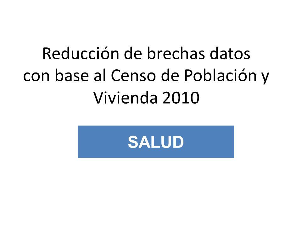 EJEMPLO DE REDUCCIÓN DE BRECHAS SALUD Reducción de brechas datos con base al Censo de Población y Vivienda 2010