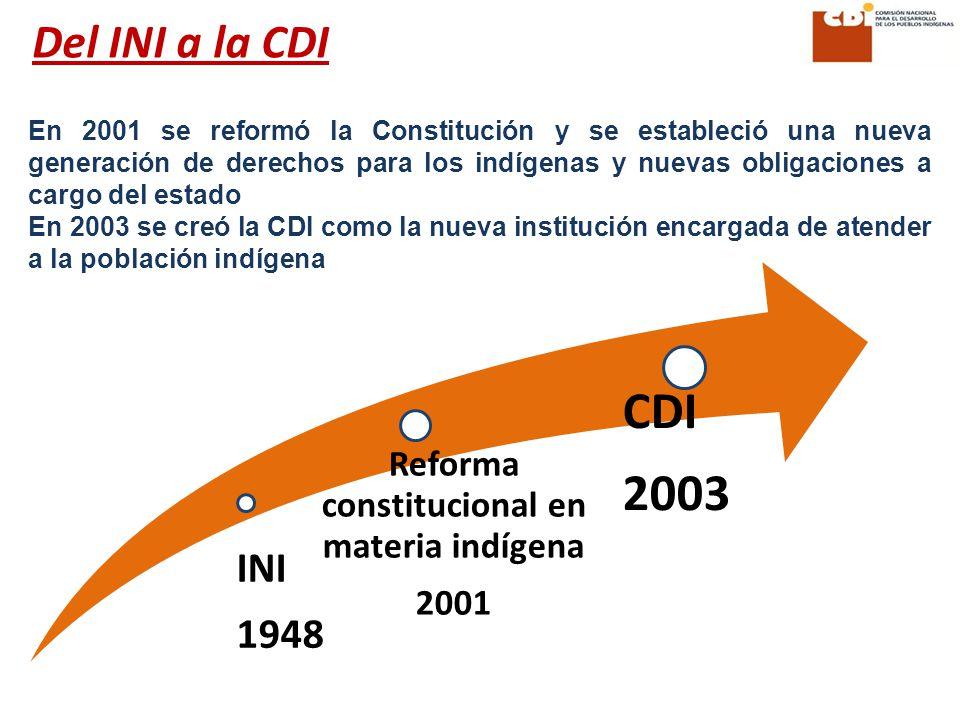 En 2001 se reformó la Constitución y se estableció una nueva generación de derechos para los indígenas y nuevas obligaciones a cargo del estado En 2003 se creó la CDI como la nueva institución encargada de atender a la población indígena Del INI a la CDI