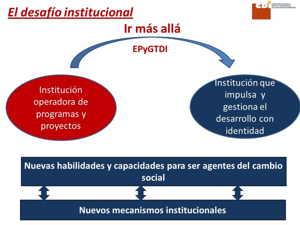 Ir más allá Institución que impulsa y gestiona el desarrollo con identidad Institución operadora de programas y proyectos Nuevas habilidades y capacidades para ser agentes del cambio social El desafío institucional Nuevos mecanismos institucionales EPyGTDI