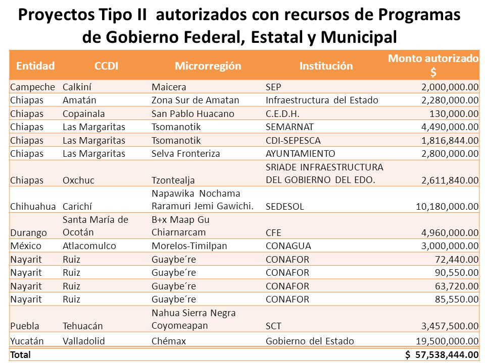 Proyectos Tipo II autorizados con recursos de Programas de Gobierno Federal, Estatal y Municipal EntidadCCDIMicrorregiónInstitución Monto autorizado $ CampecheCalkiníMaiceraSEP 2,000,000.00 ChiapasAmatánZona Sur de AmatanInfraestructura del Estado 2,280,000.00 ChiapasCopainalaSan Pablo HuacanoC.E.D.H.