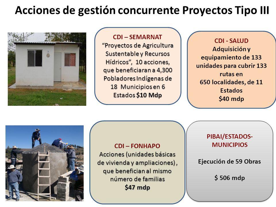 Acciones de gestión concurrente Proyectos Tipo III PIBAI/ESTADOS- MUNICIPIOS Ejecución de 59 Obras $ 506 mdp PIBAI/ESTADOS- MUNICIPIOS Ejecución de 59 Obras $ 506 mdp