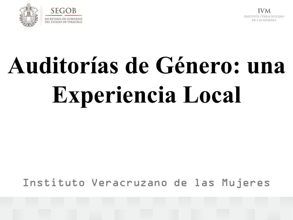 Auditorías de Género: una Experiencia Local Instituto Veracruzano de las Mujeres