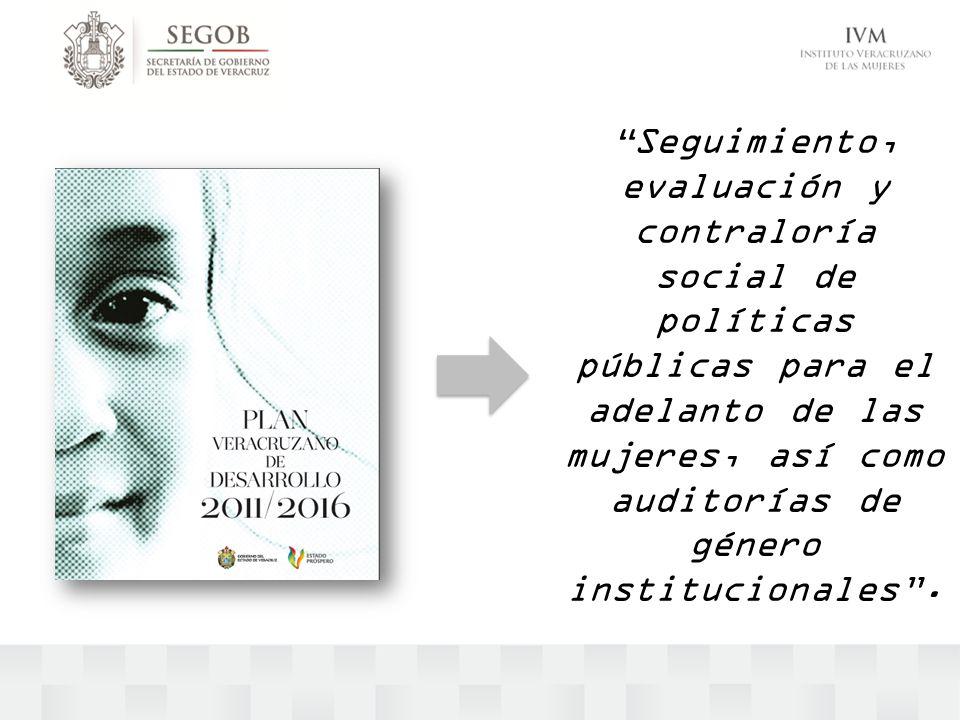 Seguimiento, evaluación y contraloría social de políticas públicas para el adelanto de las mujeres, así como auditorías de género institucionales.
