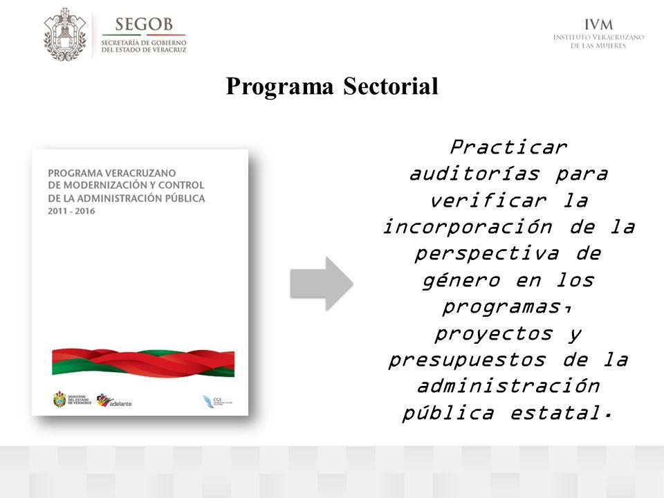 Programa Sectorial Practicar auditorías para verificar la incorporación de la perspectiva de género en los programas, proyectos y presupuestos de la a