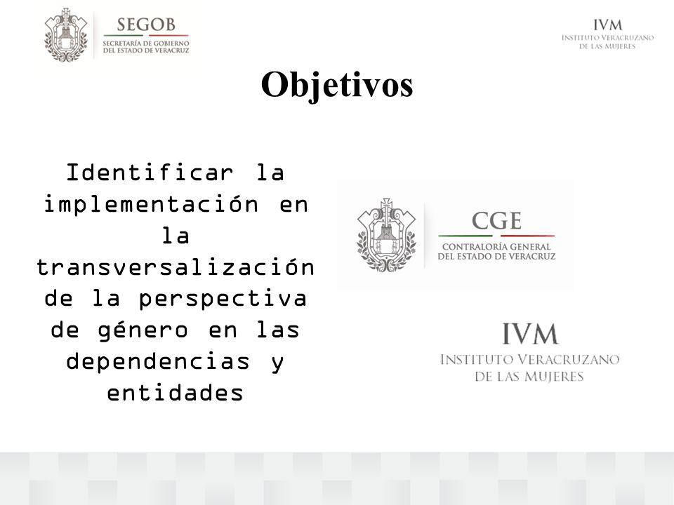Objetivos Identificar la implementación en la transversalización de la perspectiva de género en las dependencias y entidades