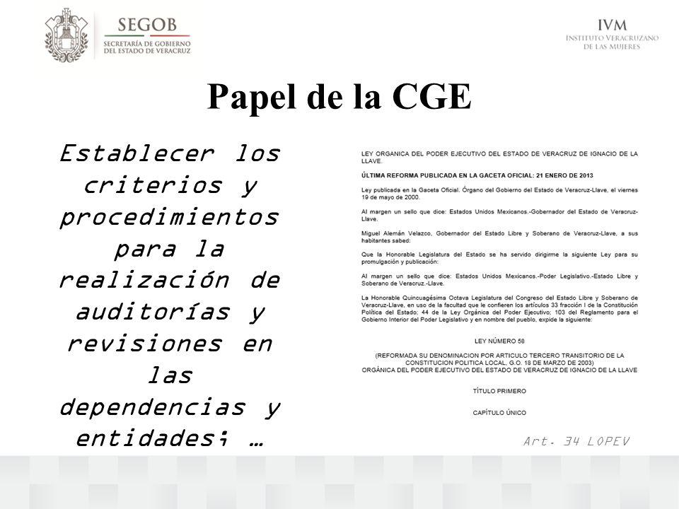 Papel de la CGE Establecer los criterios y procedimientos para la realización de auditorías y revisiones en las dependencias y entidades; … Art. 34 LO