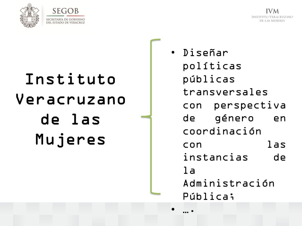 Instituto Veracruzano de las Mujeres Diseñar políticas públicas transversales con perspectiva de género en coordinación con las instancias de la Admin