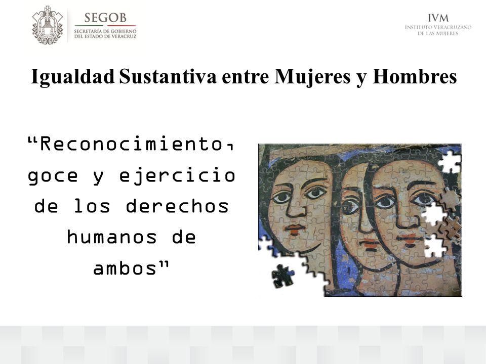 Igualdad Sustantiva entre Mujeres y Hombres Reconocimiento, goce y ejercicio de los derechos humanos de ambos