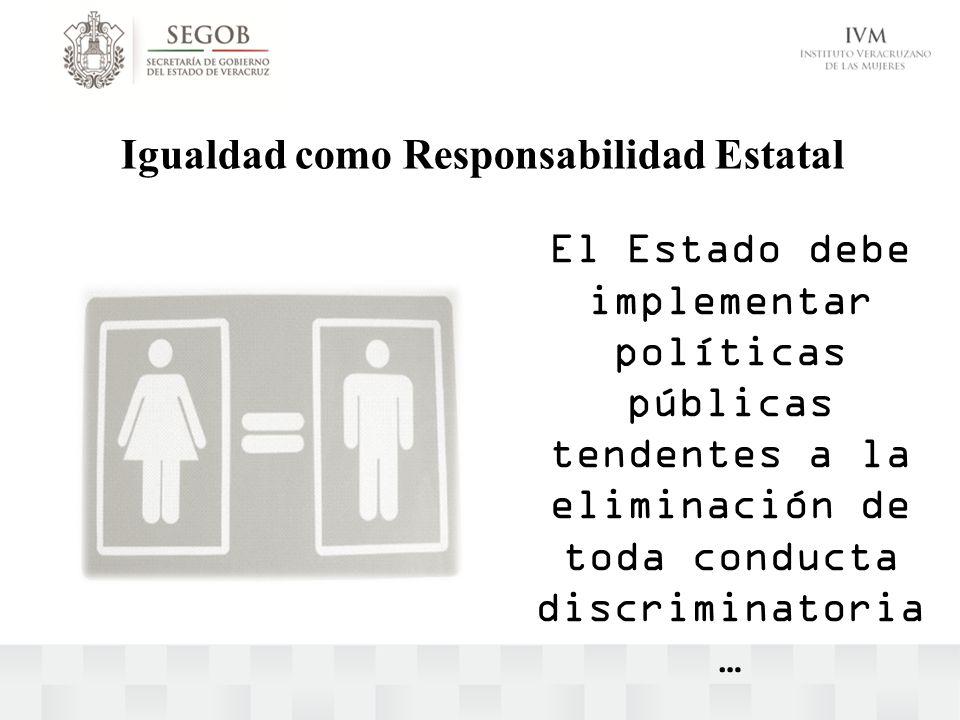 Igualdad como Responsabilidad Estatal El Estado debe implementar políticas públicas tendentes a la eliminación de toda conducta discriminatoria …