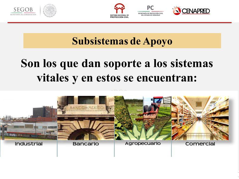 Subsistemas de Apoyo Son los que dan soporte a los sistemas vitales y en estos se encuentran: