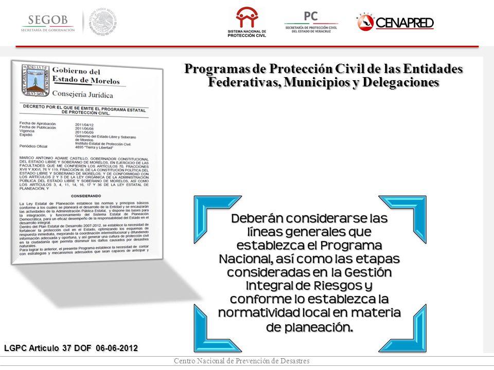 Centro Nacional de Prevención de Desastres Programas de Protección Civil de las Entidades Federativas, Municipios y Delegaciones LGPC Artículo 37 DOF 06-06-2012