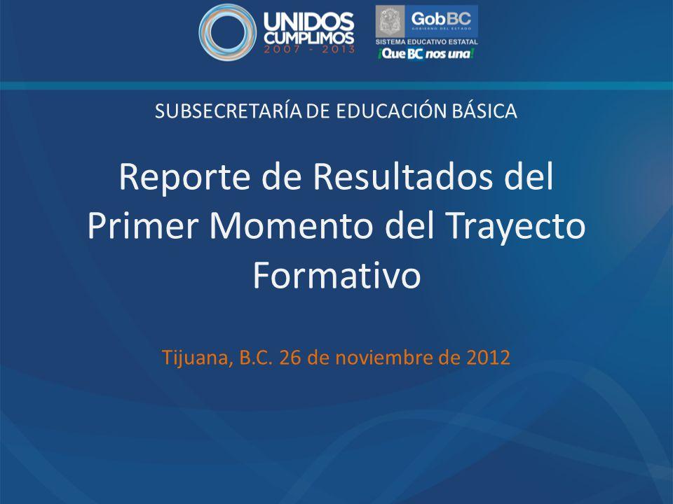 SUBSECRETARÍA DE EDUCACIÓN BÁSICA Reporte de Resultados del Primer Momento del Trayecto Formativo Tijuana, B.C. 26 de noviembre de 2012