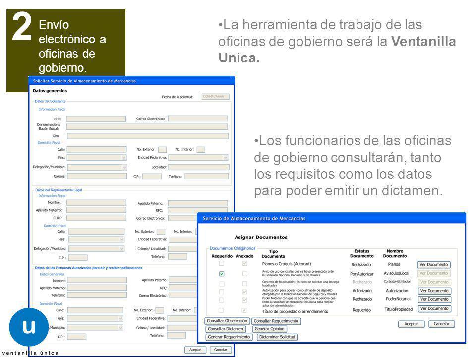 Envío electrónico a oficinas de gobierno. 2 La herramienta de trabajo de las oficinas de gobierno será la Ventanilla Unica. Los funcionarios de las of