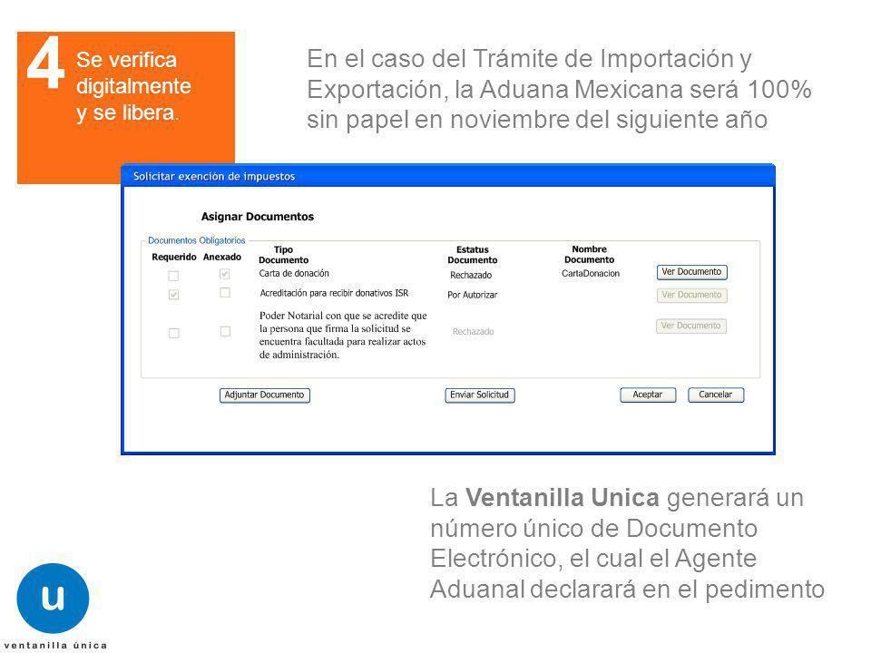 4 Se verifica digitalmente y se libera. En el caso del Trámite de Importación y Exportación, la Aduana Mexicana será 100% sin papel en noviembre del s