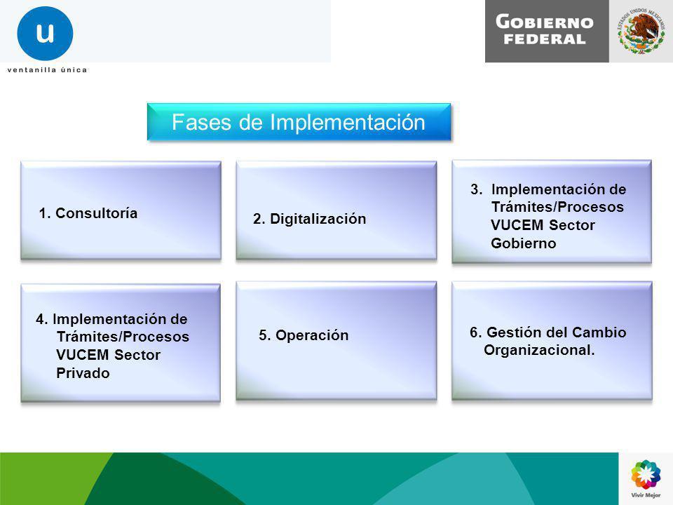 Fases de Implementación 1. Consultoría 2. Digitalización 3. Implementación de Trámites/Procesos VUCEM Sector Gobierno 4. Implementación de Trámites/Pr