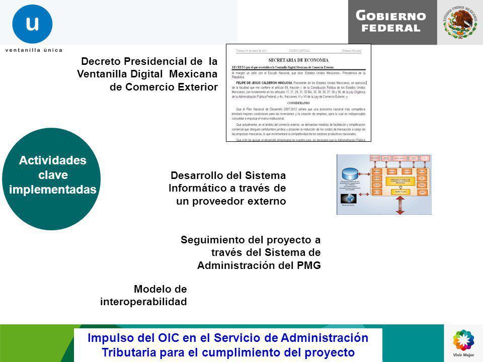 Decreto Presidencial de la Ventanilla Digital Mexicana de Comercio Exterior Desarrollo del Sistema Informático a través de un proveedor externo Activi