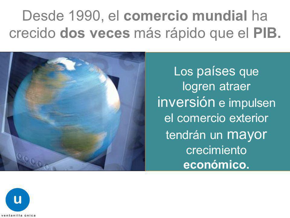 Los países que logren atraer inversión e impulsen el comercio exterior tendrán un mayor crecimiento económico. Desde 1990, el comercio mundial ha crec
