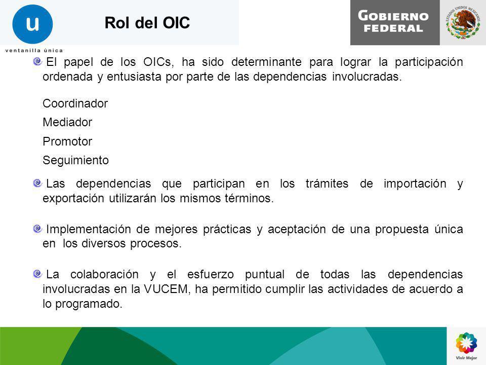 El papel de los OICs, ha sido determinante para lograr la participación ordenada y entusiasta por parte de las dependencias involucradas. Coordinador