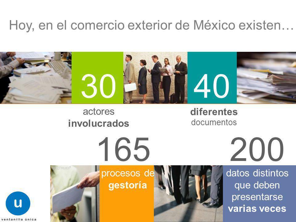 Mayo 2011 Hoy, en el comercio exterior de México existen… 3040 actores involucrados diferentes documentos 165200 procesos de gestoría datos distintos