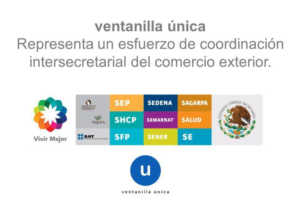 ventanilla única Representa un esfuerzo de coordinación intersecretarial del comercio exterior.
