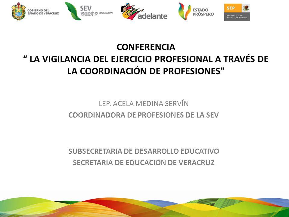 COORDINACIÓN DE PROFESIONES REGULAR Y VIGILAR CEDULAS PROFESIONALES INSTITUCIONES EDUCATIVAS SERVICIO SOCIAL COLEGIOS DE PROFESIONISTAS