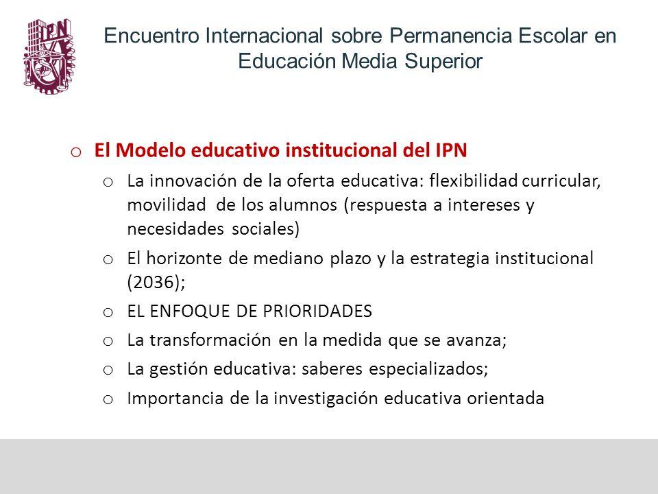 Encuentro Internacional sobre Permanencia Escolar en Educación Media Superior o El Modelo educativo institucional del IPN o La innovación de la oferta educativa: flexibilidad curricular, movilidad de los alumnos (respuesta a intereses y necesidades sociales) o El horizonte de mediano plazo y la estrategia institucional (2036); o EL ENFOQUE DE PRIORIDADES o La transformación en la medida que se avanza; o La gestión educativa: saberes especializados; o Importancia de la investigación educativa orientada