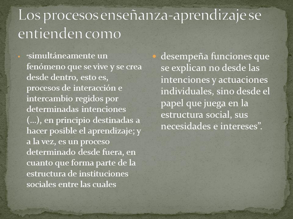 simultáneamente un fenómeno que se vive y se crea desde dentro, esto es, procesos de interacción e intercambio regidos por determinadas intenciones (.