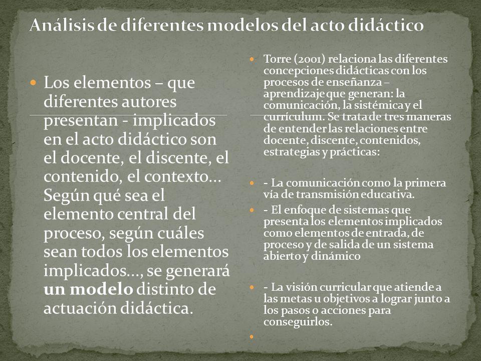 Los elementos – que diferentes autores presentan - implicados en el acto didáctico son el docente, el discente, el contenido, el contexto... Según qué