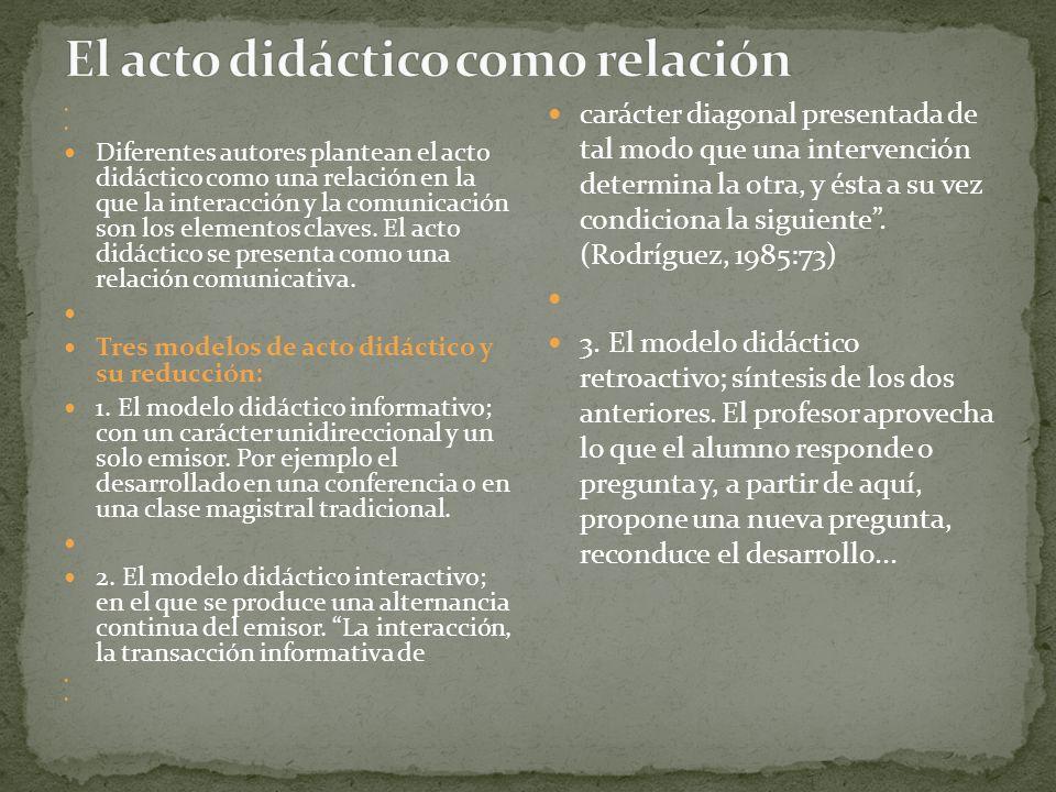 Diferentes autores plantean el acto didáctico como una relación en la que la interacción y la comunicación son los elementos claves. El acto didáctico