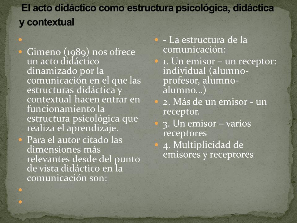 Gimeno (1989) nos ofrece un acto didáctico dinamizado por la comunicación en el que las estructuras didáctica y contextual hacen entrar en funcionamie