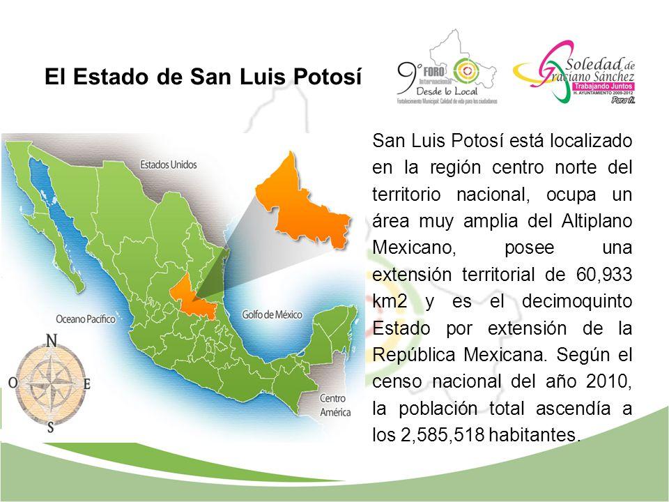 El Estado de San Luis Potosí San Luis Potosí está localizado en la región centro norte del territorio nacional, ocupa un área muy amplia del Altiplano
