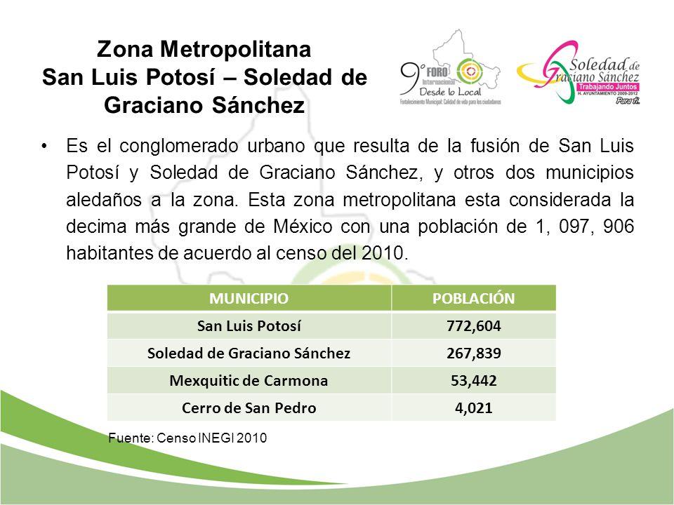 Zona Metropolitana San Luis Potosí – Soledad de Graciano Sánchez Es el conglomerado urbano que resulta de la fusión de San Luis Potosí y Soledad de Gr