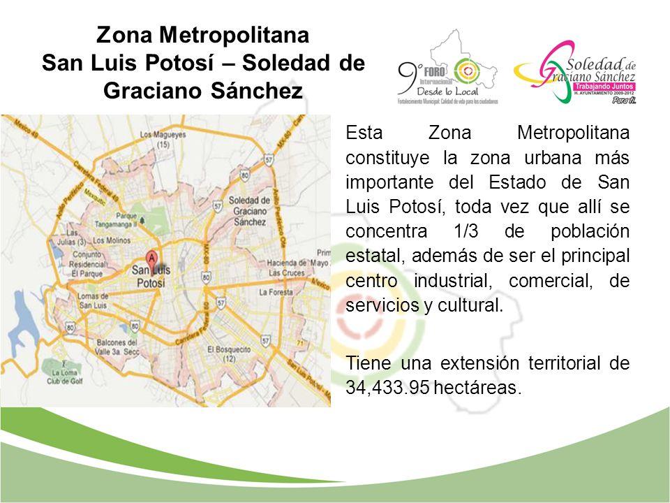 Esta Zona Metropolitana constituye la zona urbana más importante del Estado de San Luis Potosí, toda vez que allí se concentra 1/3 de población estata