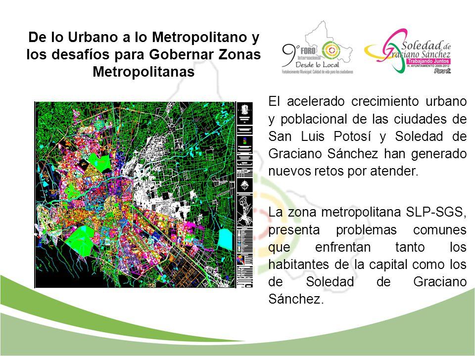 De lo Urbano a lo Metropolitano y los desafíos para Gobernar Zonas Metropolitanas El acelerado crecimiento urbano y poblacional de las ciudades de San