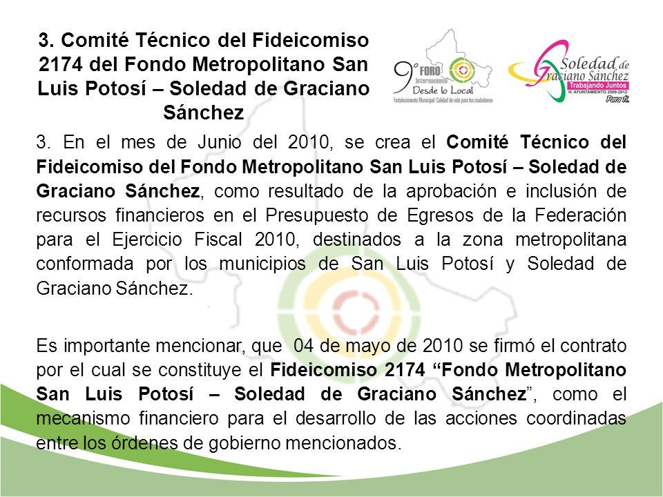3. Comité Técnico del Fideicomiso 2174 del Fondo Metropolitano San Luis Potosí – Soledad de Graciano Sánchez 3. En el mes de Junio del 2010, se crea e