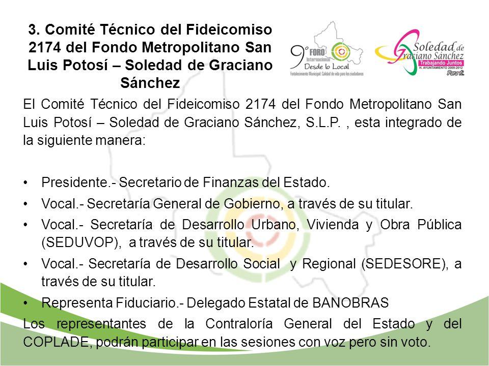 El Comité Técnico del Fideicomiso 2174 del Fondo Metropolitano San Luis Potosí – Soledad de Graciano Sánchez, S.L.P., esta integrado de la siguiente m