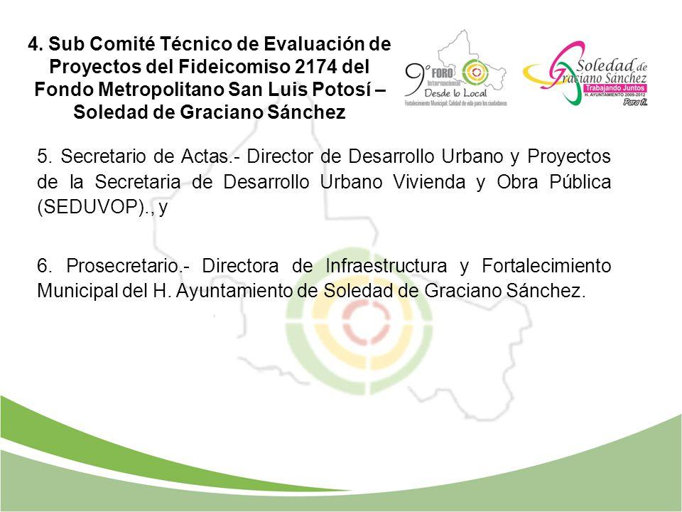 4. Sub Comité Técnico de Evaluación de Proyectos del Fideicomiso 2174 del Fondo Metropolitano San Luis Potosí – Soledad de Graciano Sánchez 5. Secreta