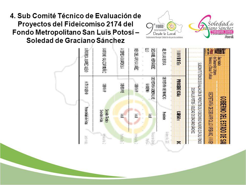 4. Sub Comité Técnico de Evaluación de Proyectos del Fideicomiso 2174 del Fondo Metropolitano San Luis Potosí – Soledad de Graciano Sánchez