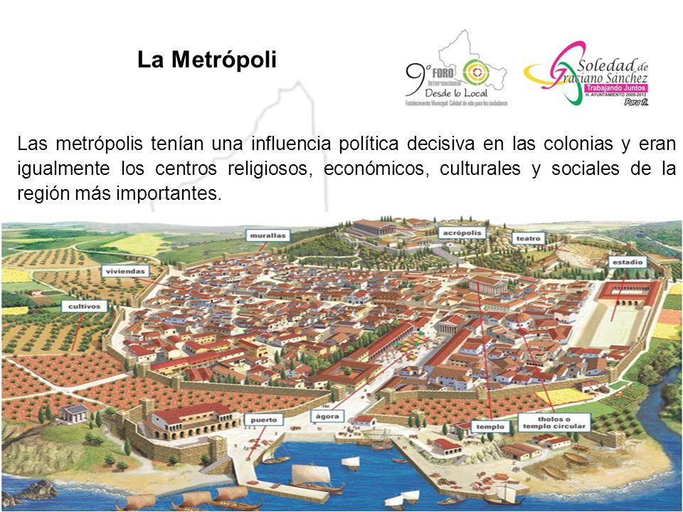 La Metrópoli Las metrópolis tenían una influencia política decisiva en las colonias y eran igualmente los centros religiosos, económicos, culturales y