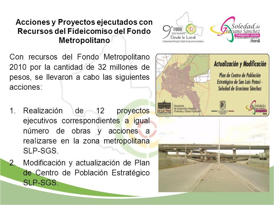 Acciones y Proyectos ejecutados con Recursos del Fideicomiso del Fondo Metropolitano Con recursos del Fondo Metropolitano 2010 por la cantidad de 32 m