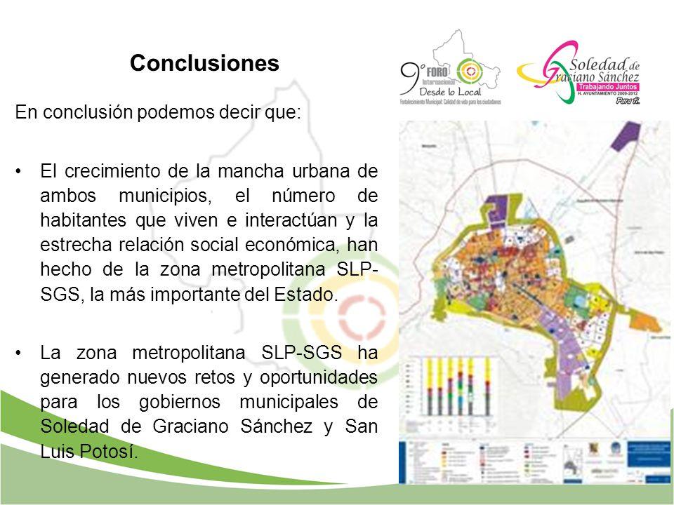 En conclusión podemos decir que: El crecimiento de la mancha urbana de ambos municipios, el número de habitantes que viven e interactúan y la estrecha