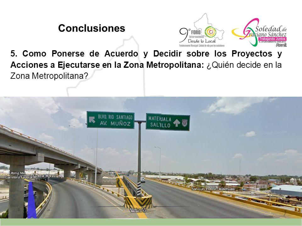 5. Como Ponerse de Acuerdo y Decidir sobre los Proyectos y Acciones a Ejecutarse en la Zona Metropolitana: ¿Quién decide en la Zona Metropolitana? Con