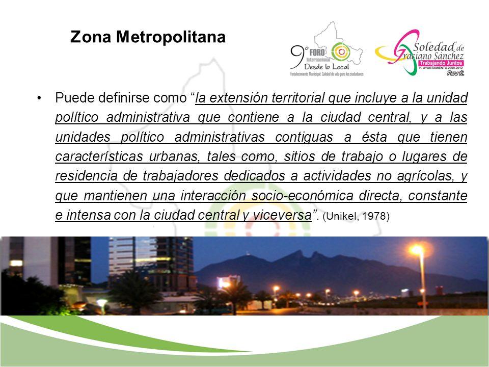 Zona Metropolitana Puede definirse como la extensión territorial que incluye a la unidad político administrativa que contiene a la ciudad central, y a