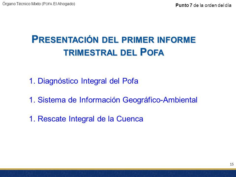 Órgano Técnico Mixto (P OFA El Ahogado) 1.Diagnóstico Integral del Pofa 1.Sistema de Información Geográfico-Ambiental 1.Rescate Integral de la Cuenca