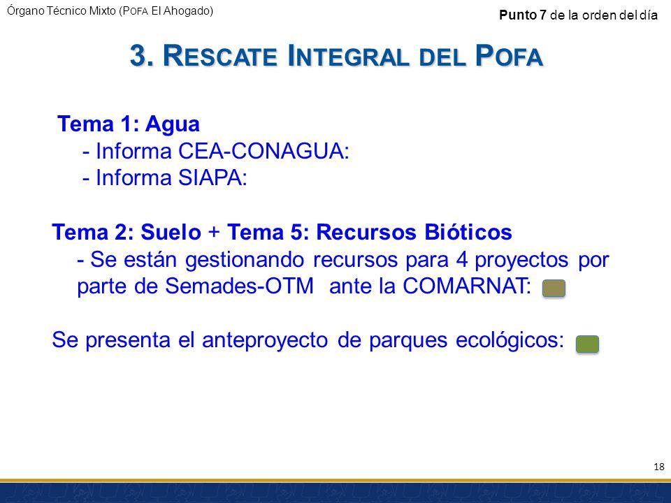 Órgano Técnico Mixto (P OFA El Ahogado) Punto 7 de la orden del día Tema 1: Agua - Informa CEA-CONAGUA: - Informa SIAPA: Tema 2: Suelo + Tema 5: Recur