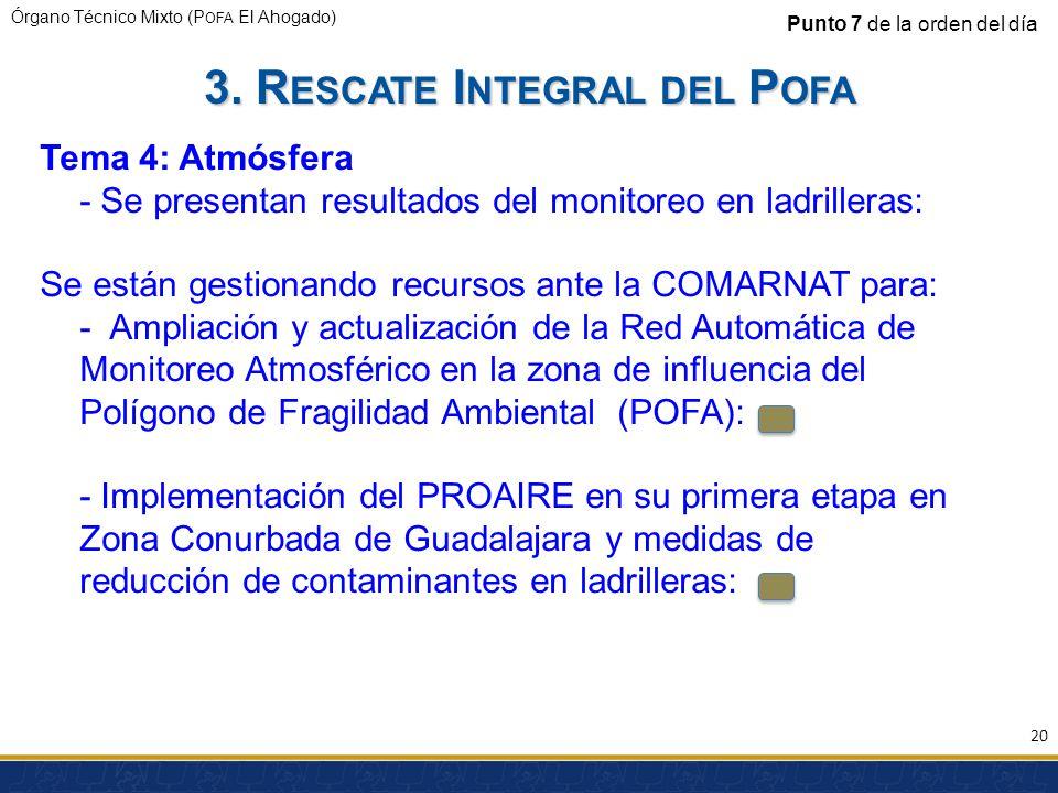 Órgano Técnico Mixto (P OFA El Ahogado) Punto 7 de la orden del día Tema 4: Atmósfera - Se presentan resultados del monitoreo en ladrilleras: Se están